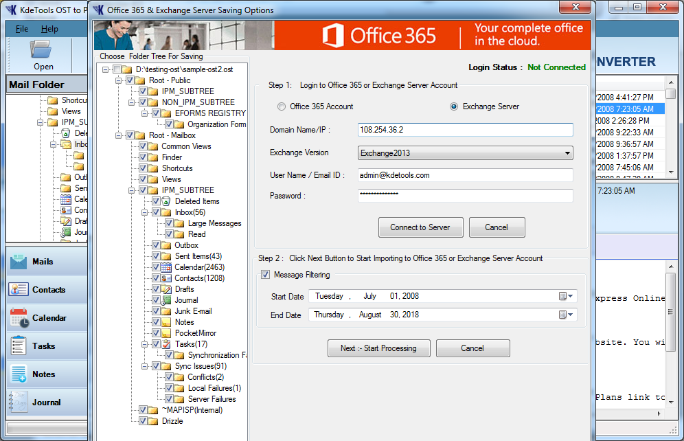 Import OST to Live Exchange Server Account